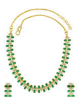 Green Colour Gold Finish Styled With Americian Diamonds Delicate Diamond Necklace