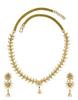 Pearl Gold Finish Traditional Necklace Styled With Pearls Beads Jewellery Set