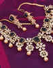 Navy-Blue Colour Diamond Jewellery Studded With Diamonds Pearls Diamonds Necklace