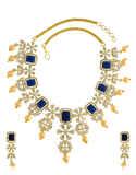 Navy-Blue Colour Diamond Jewellery Studded With Diamonds Pearls Diamonds Necklace