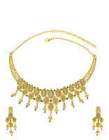 Gold Finish Latest Diamond Necklace Set Studded With American Diamond Pearls Ad Jewelry