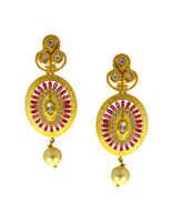 Matte Gold Finish AD Jewellery Set Styled With Ruby-White American Diamonds Kundan Design Jewellery
