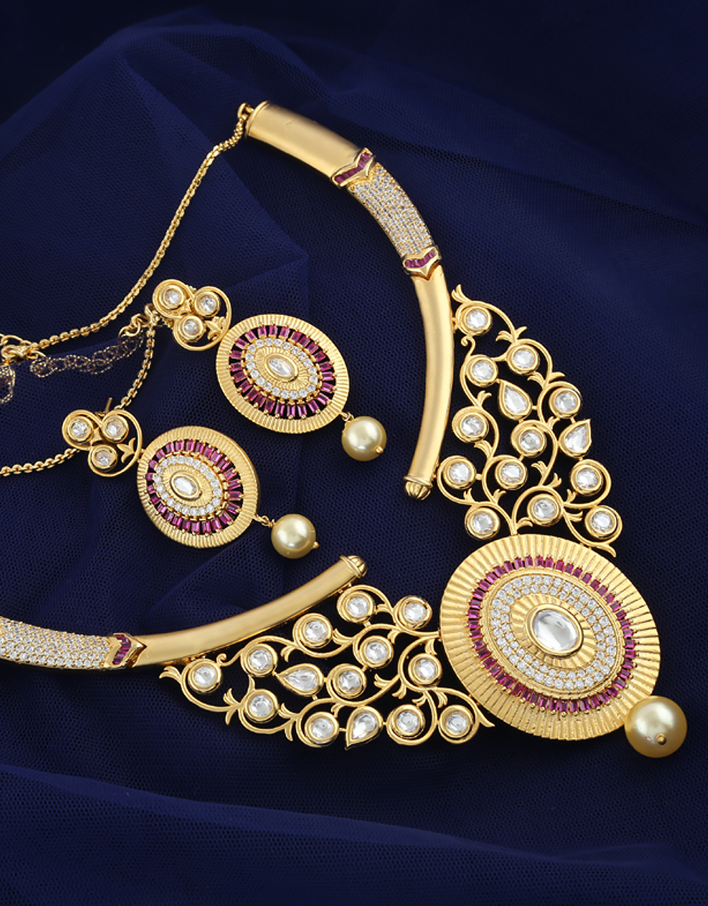 Matte Gold Finish AD Jewellery Set Styled With Ruby-White American Diamonds Kundan Design Jewellery