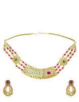 Multi Colour Party Wear Diamond Necklace Styled With Diamonds Chokar Diamonds Necklace
