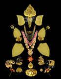 Ganapati Sajavat Black Colour Gajantlaxmi