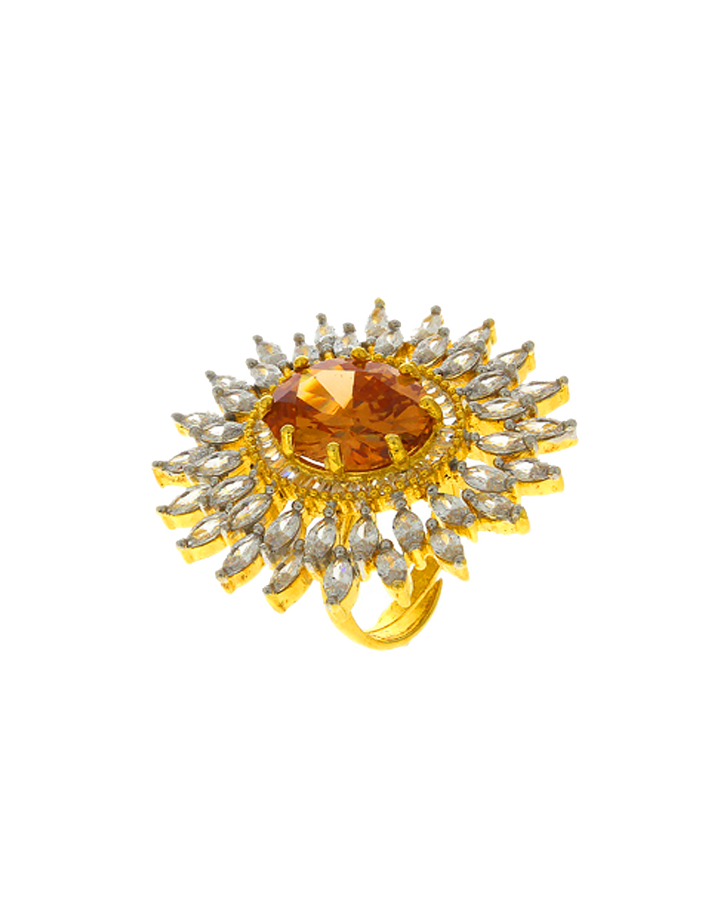 Gold Tone Peach Colour Ring Studded With Diamonds Adjustable Ring