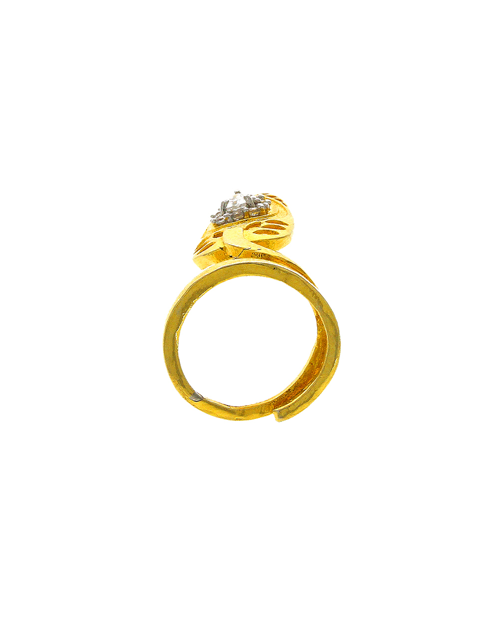 Golden Finish Nail Ring Studded With Diamonds Ring