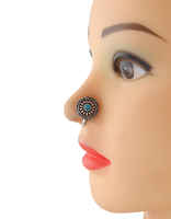 Turquiose Colour Silver Tone Designer Nose Ring