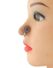 Orange Colour Silver Finish Oxidised Nose Nath