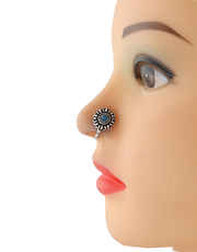 Turquiose Colour Oxidised Silver Nose Pin