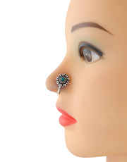 Oxidized Finish Turquiose Colour Silver Nose Stud