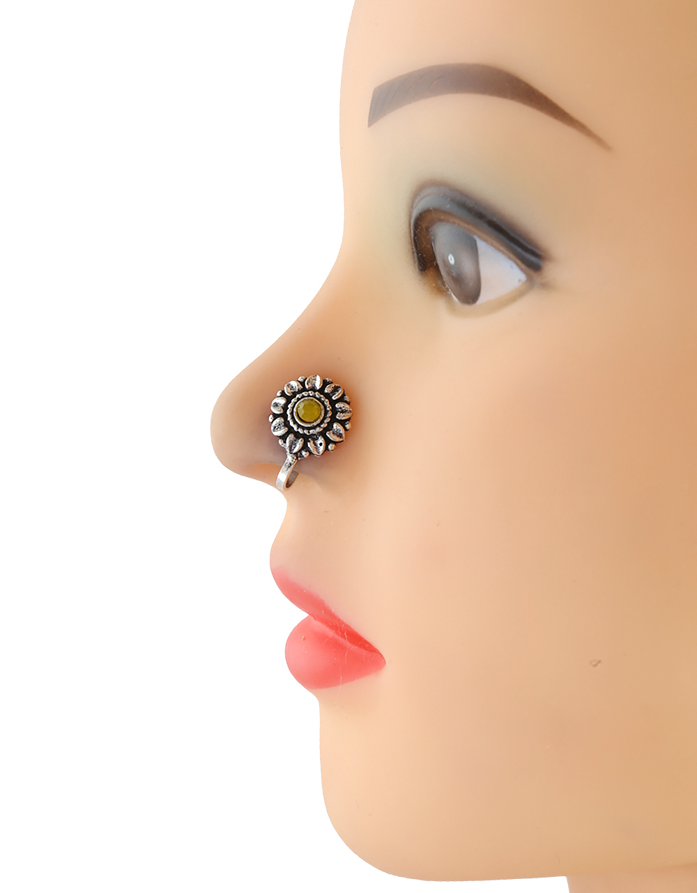 Floral Design Oxidised Finish Nose Pin Stud