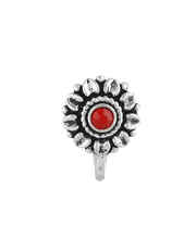 Oxidised Nose Pin Studded With Red Colour Stone for Girls