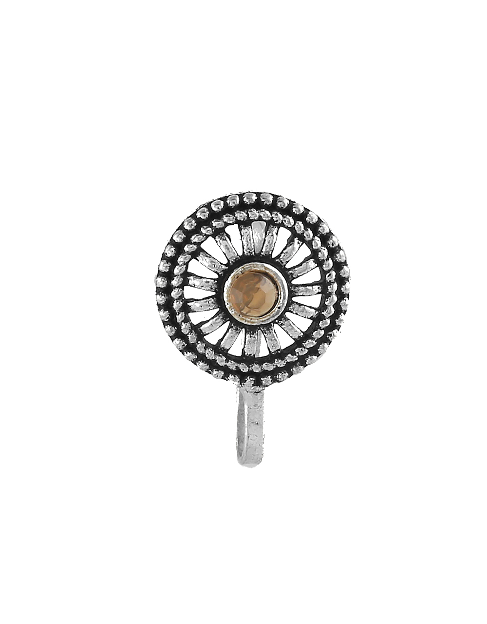 Brown Colour Silver Finish Ring Nose Pin