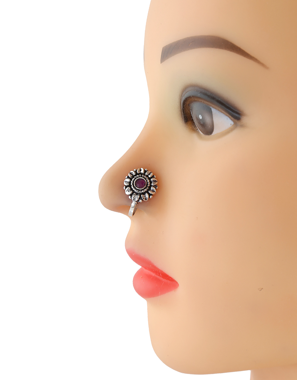 Floral Design Oxidised Finish Jewellery Nose Pin