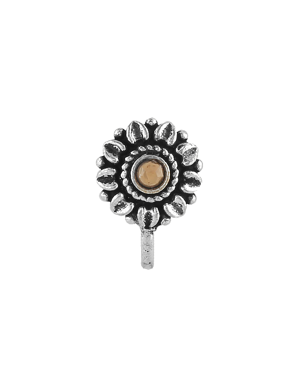 Oxidised Silver Tone Fawn Colour Floral Nose Stud