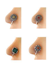 Silver Tone Nose Rings Western Wear Oxidised Combo Set