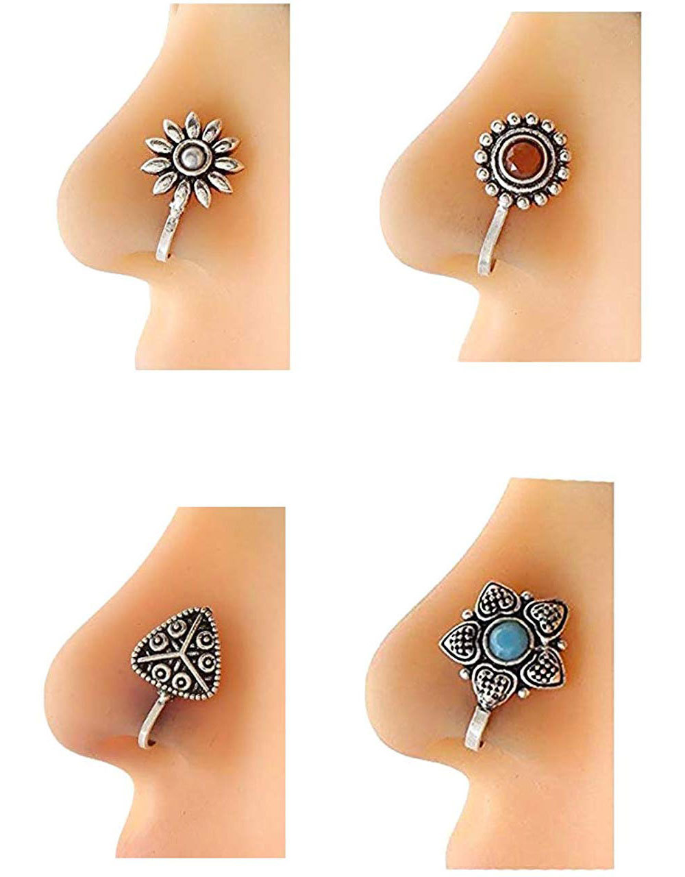 Buy Silver Nose Rings Pressing Combo For Women Online Anuradha
