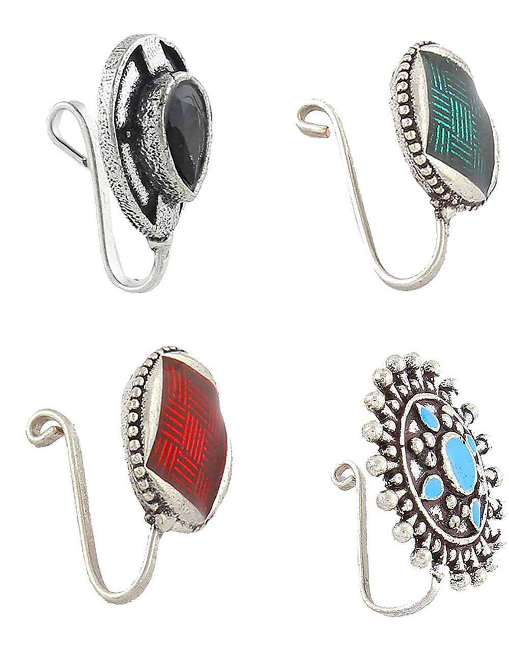 Nose Rings Oxidised Silver Finish Combo Set for Women