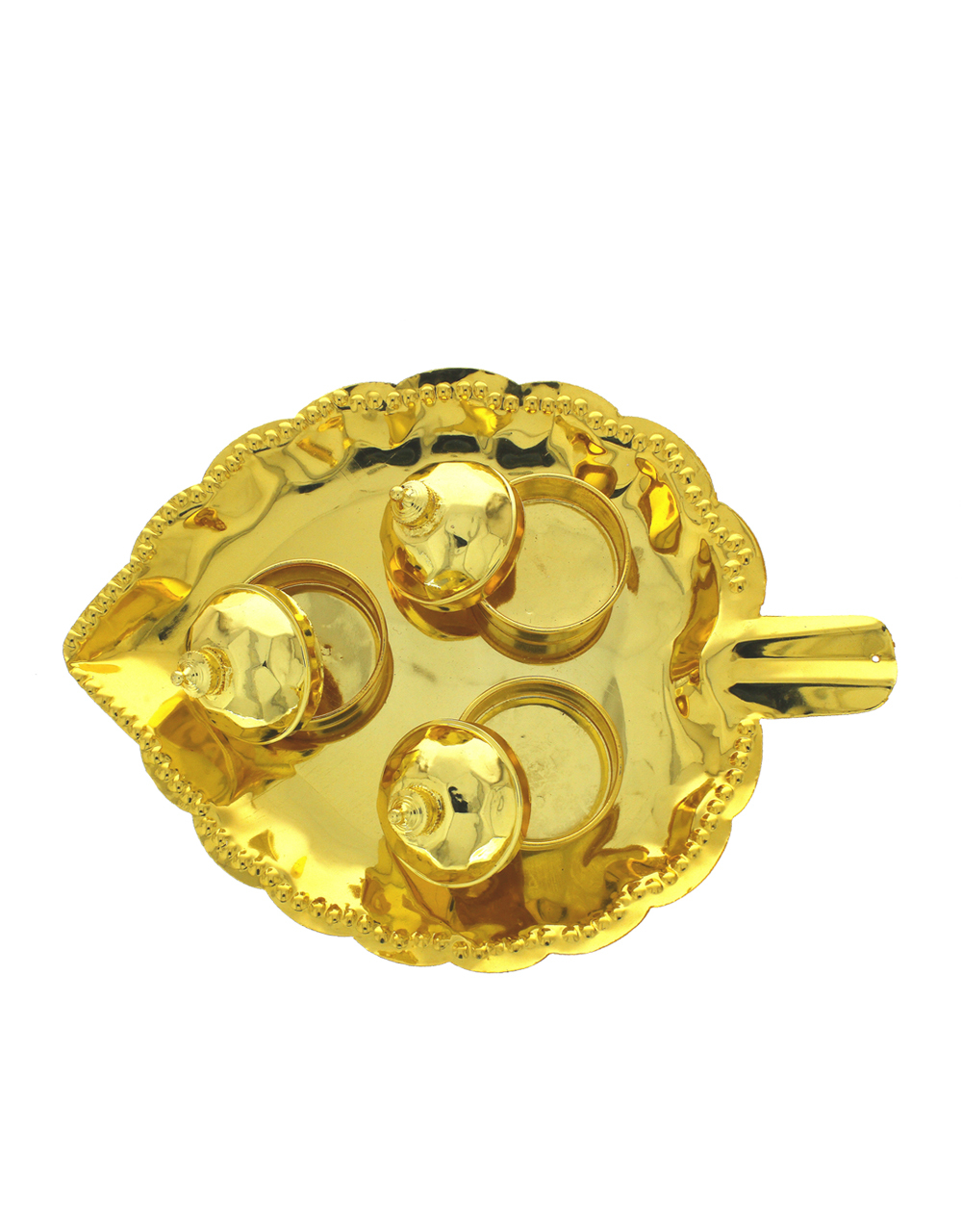 Gold Tone Simple Puja Thali For Ganesha Occasion