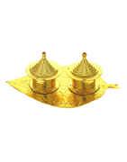 Gold Tone Very Simple Puja Thali For Ganesha Decoration