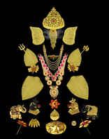 Artificial Gold Tone Trishul For Ganesha Sajavat