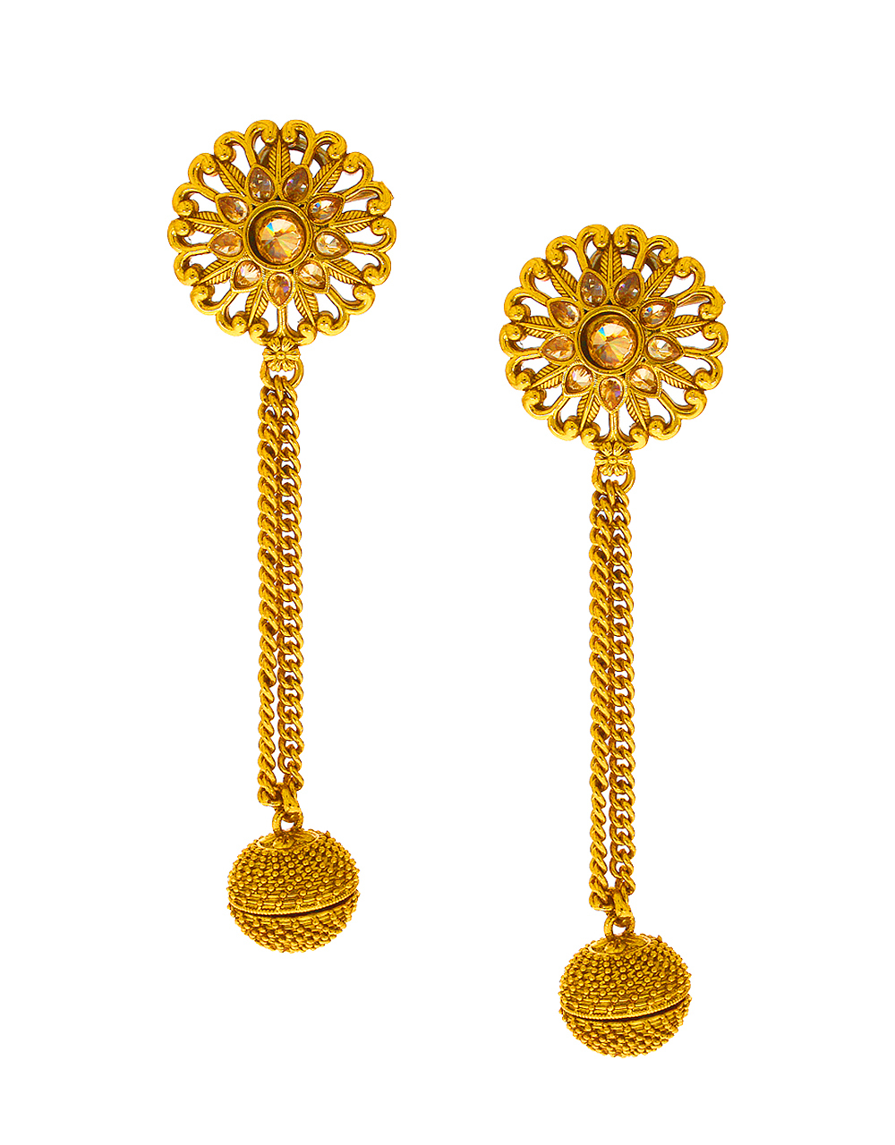 Gold Earrings With Chain Design Image Of Earring