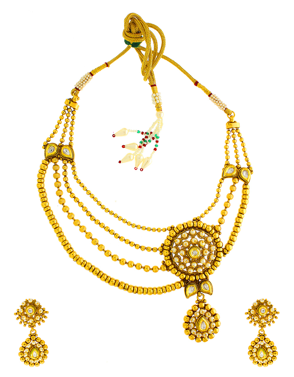 Gold Finish Layered Necklace Styled With Pearls Beads Kundan Necklace Jewellery