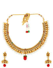Multi Colour  Gold Necklace Styled With Pearls Wedding Jewellery Set