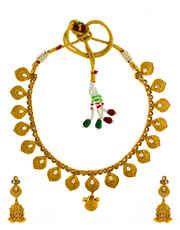Designer Gold Tone Antique Jewellery Necklace Set for Women