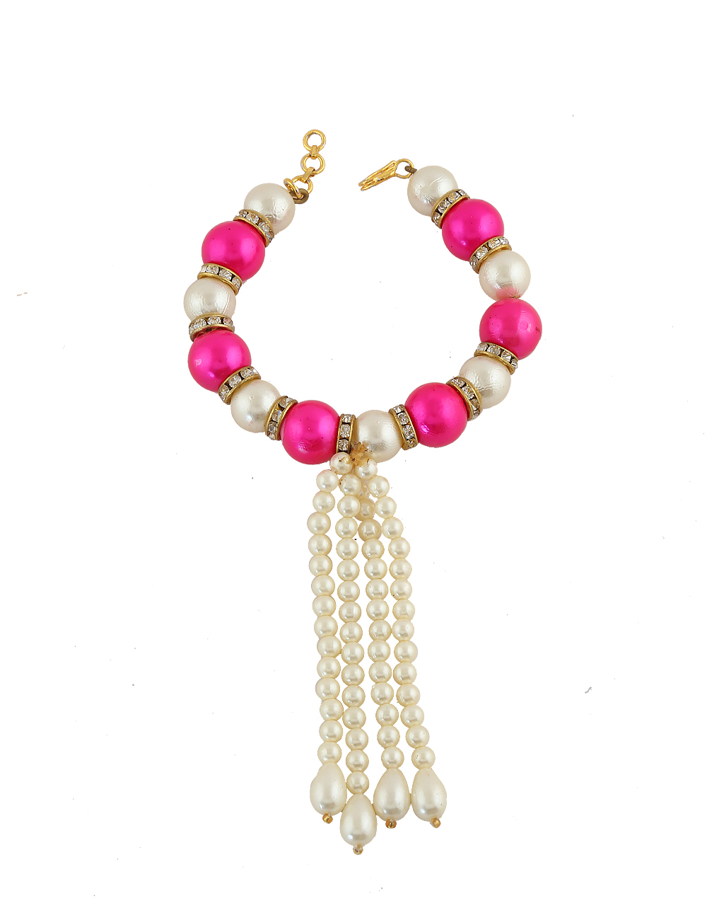 2680c95296e7b Buy Pink Colour Pearls Bracelet Styled With Beads Kada For Ganpati ...