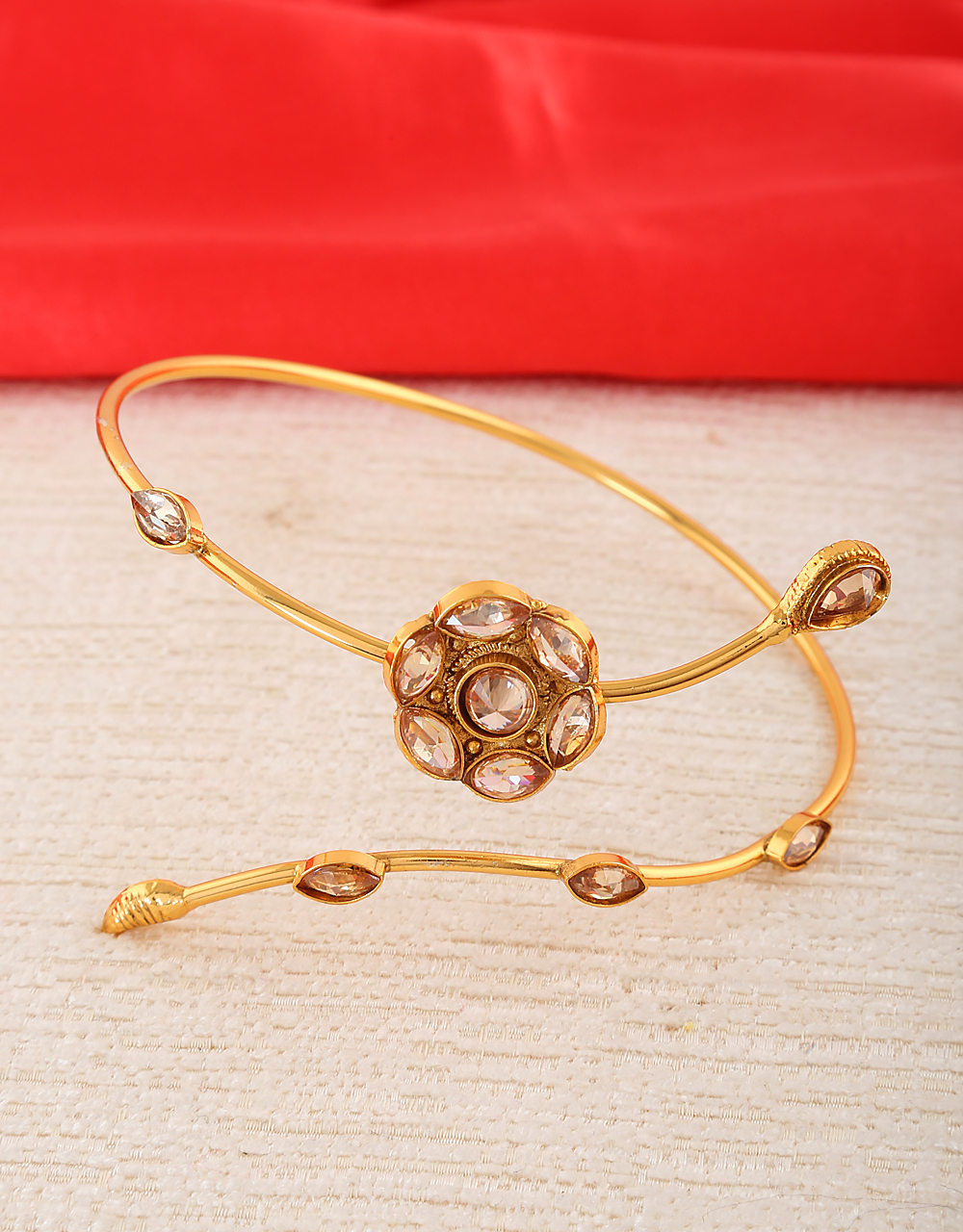 Gold Finish Adorable Bajuband Styled With Stones Golden Armlet