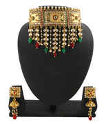 Gold Finish Dulhan Necklace Set Styled With Pearl Beads Padmavati Jewellery Set