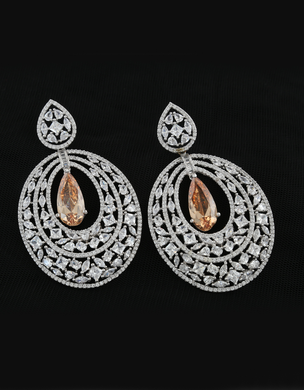 Silver Tone American Diamond Long Earring For Party Wear