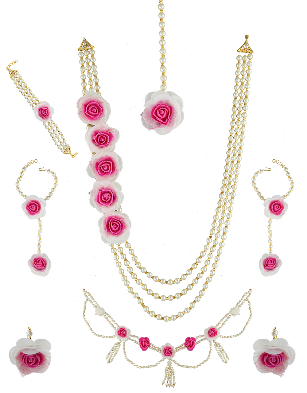 Buy Pink Colour Adorable Flower Jewellery Set Styled With Pearls