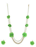 Golden Beads Styled Green Colour Flower Necklace Styled With Pearls Artficial Jewelery