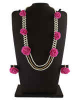 Pink Colour Designer Handmade Flower Jewellery Necklace Styled With Pearls Necklace