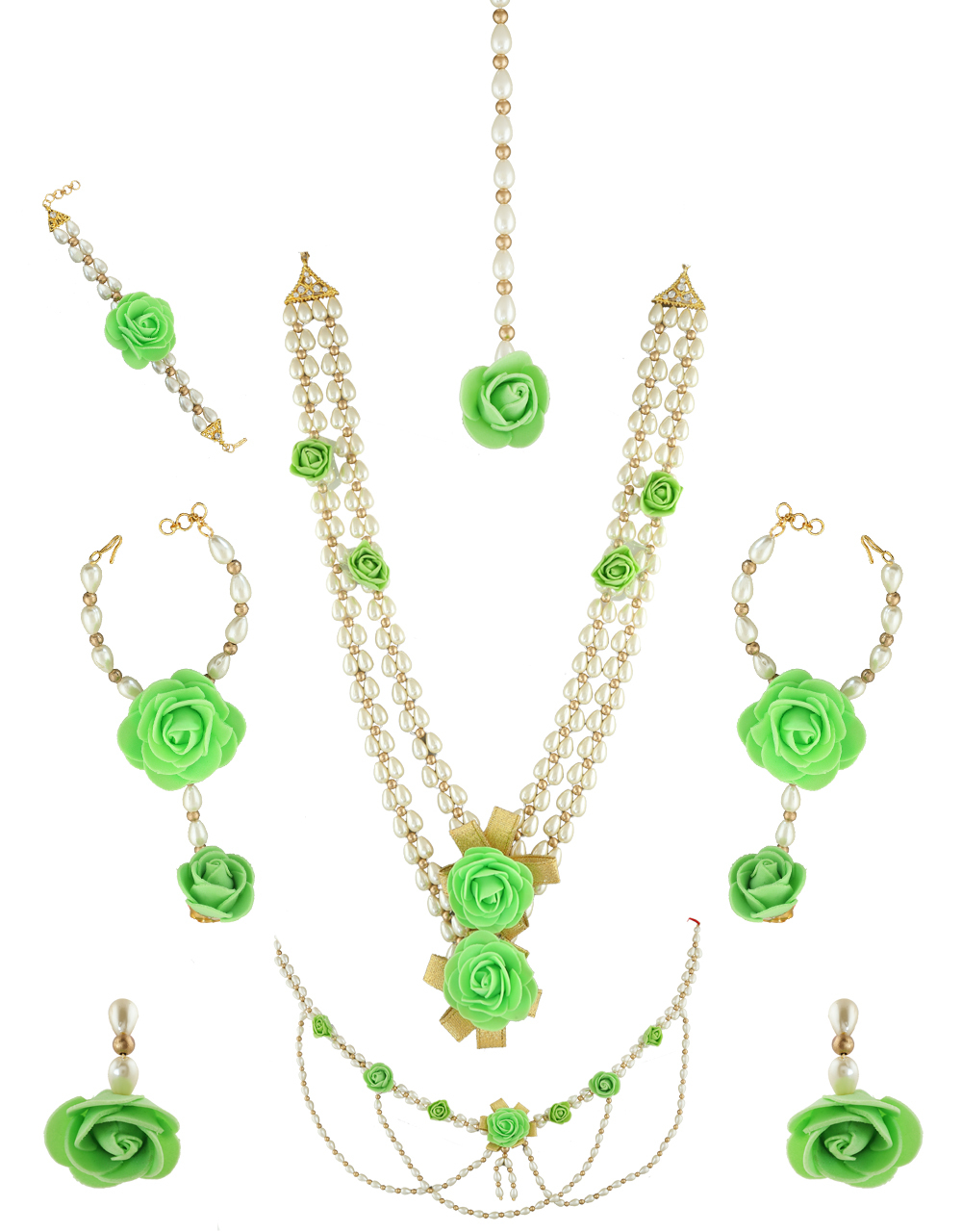 Green Colour Rose Flower Jewelry Styled With Pearls Beads Line Flower Jewelry For Godh Bharai