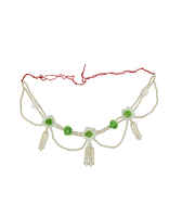 Green Colour Side Flower Jewellery Styled With Pearls Beads Flower Haldi Jewelry