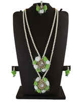 Adorable Designer Flower Necklace Styled With Stones Beads Pearls Jewellery For Wedding