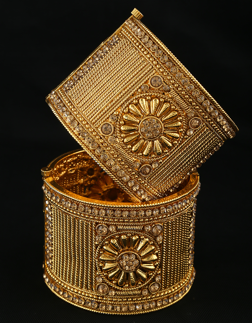 Rajasthani Look Gold Tone Heavy Kada For Women Styled With Stone Bracelet