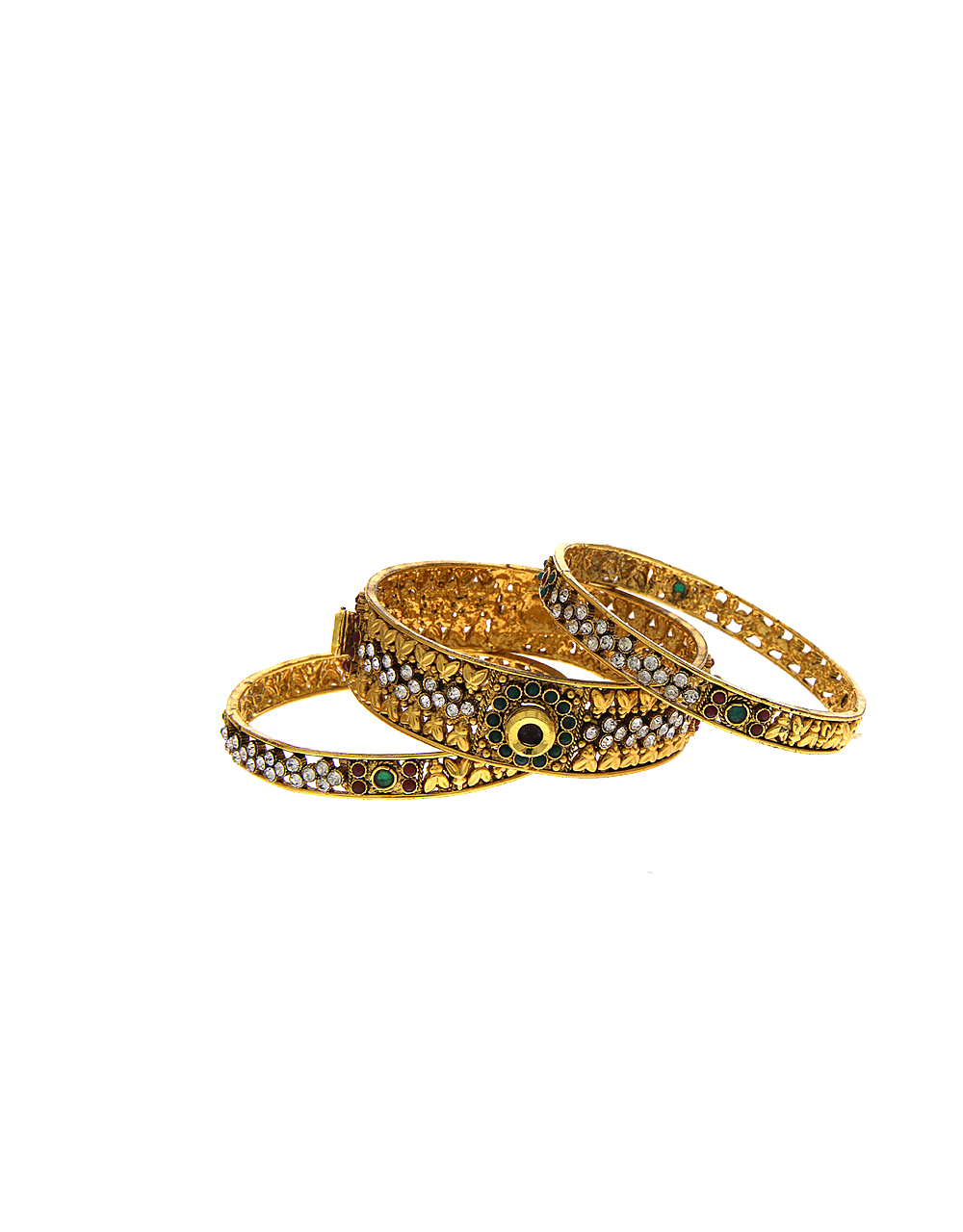 Gold Finish Multi Colour Studded With Stones Bangles Set For Wedding
