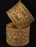 Gold Finish Heavy Kada Bracelets Styled With Stones Bangles Traditional