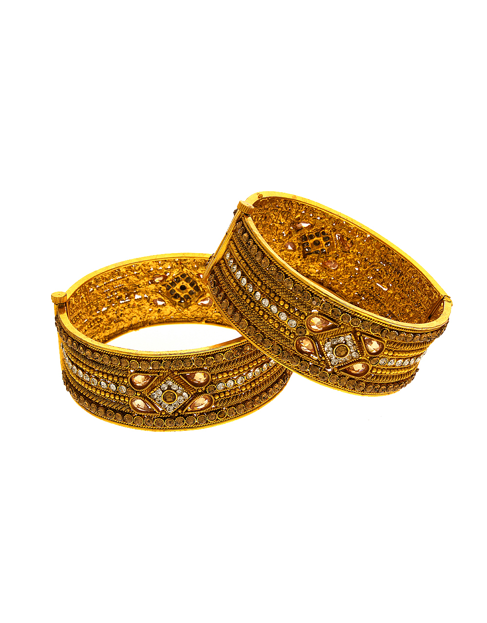 Gold Tone Antique Bangles Studded With Stones Kada Bangles Artificial