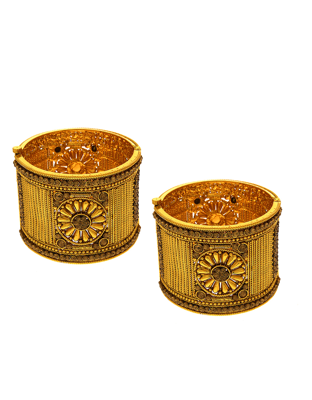 Antique Gold Tone Heavy Bangles For Wedding Styled With Stones Kada