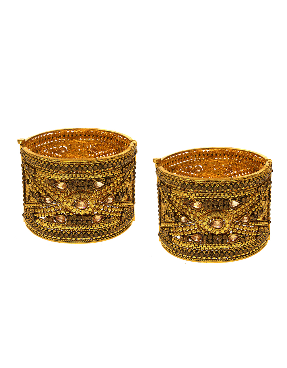 Fancy Gold Finish Bangles Studded With Stones Traditional Bangles
