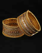 Designer Gold Finish Bangles Studded With Stones Heavy Kada For Bride