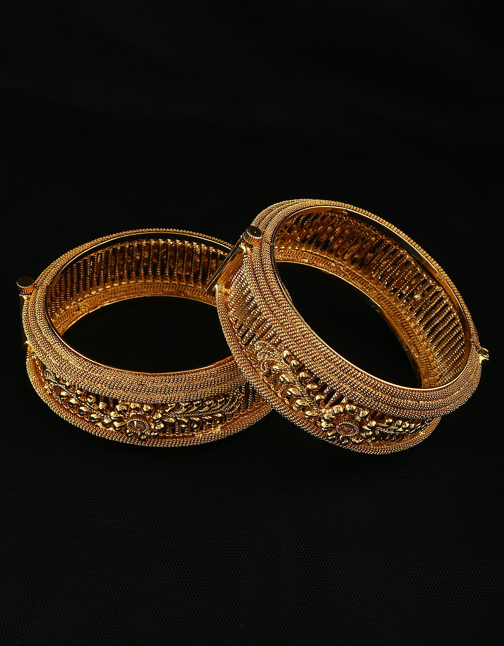 Gold Finish Floral Design Designer Bangles For Girls Traditional