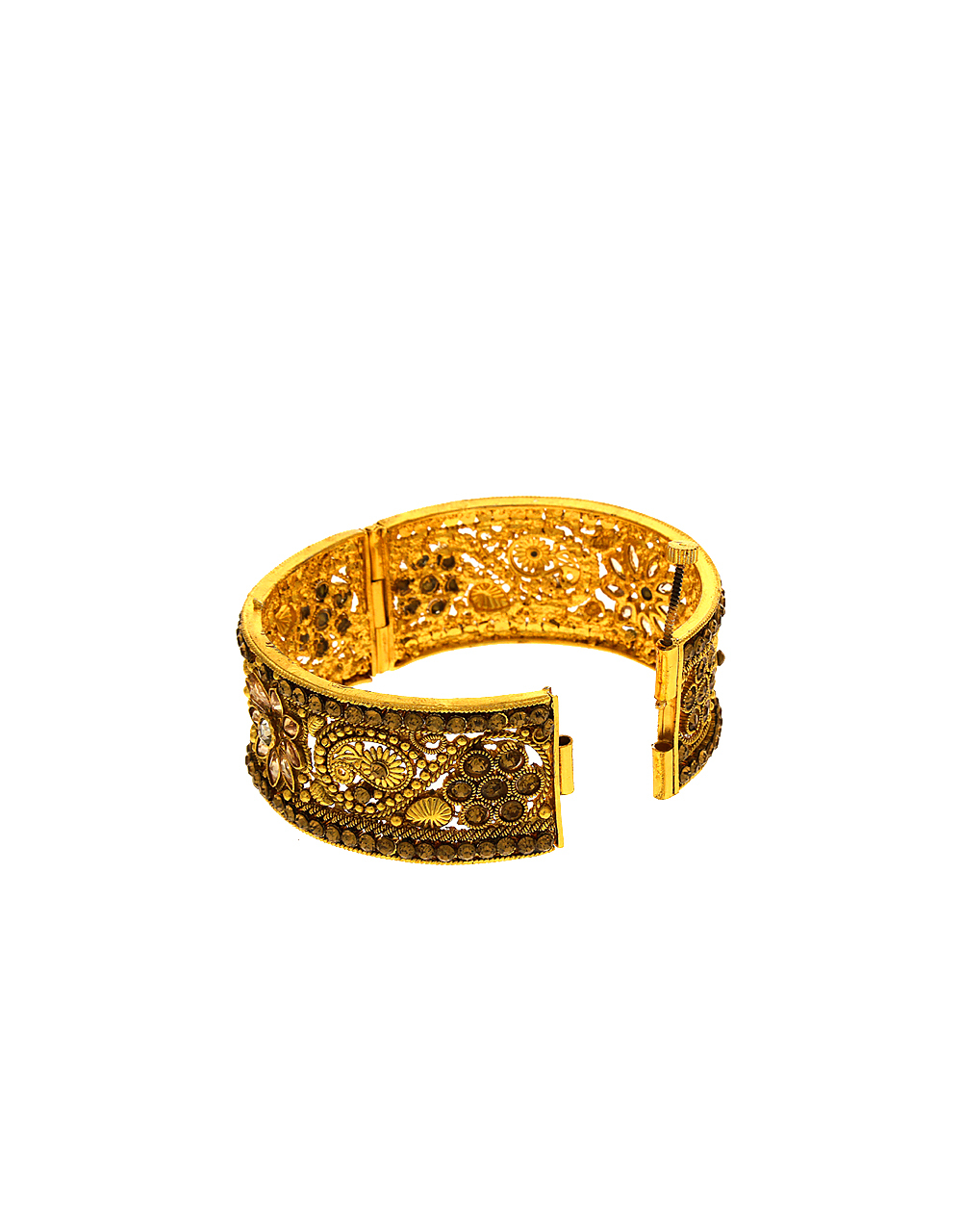Floral Design Gold Tone Studded With Stone Kada Bangles