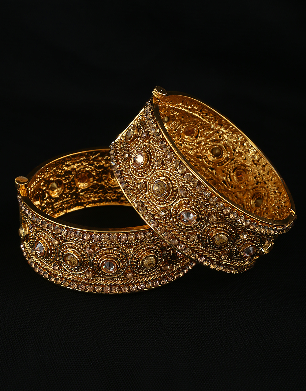 Fashionable Gold Finish Adorable Bangles Studded With Stones Fancy Bangles